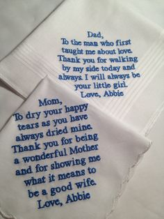 Set of Two Personalized WEDDING HANKIE'S Mother Father of the Bride Gifts Hankerchief - Hankies. $35.00, via Etsy.