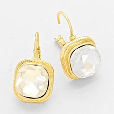 Gold and Clear Crystal Stone Earrings