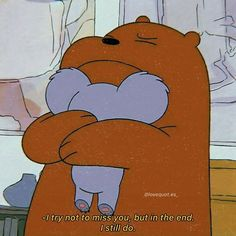 Sometimes we're at that side where we are the only one who miss too much. Care too much. We Bare Bears Wallpapers, Panda Wallpapers, Cute Cartoon Wallpapers, Cute Panda Wallpaper, Bear Wallpaper, Cute Wallpaper Backgrounds, Ice Bear We Bare Bears, We Bear, Cute Love Pictures