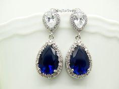 Navy Blue Earrings Royal Blue Earrings Dark by MyTinyStarShining