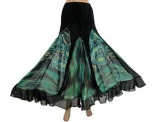 Amazon.com: Bollywood Fashion Bohemian Bellydance Black Turquoise Georgette Skirt: Clothing