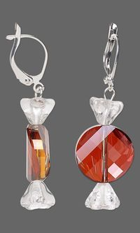 Christmas candy earrings with SWAROVSKI ELEMENTS and Czech Pressed Glass Beads