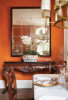 Proof that Burnt Orange works in Traditional setting.      Grandin Road Color Crush on Burnt Orange