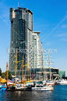 Sea Towers in #Gdynia, sailboats and motorboats, #Poland #Polska