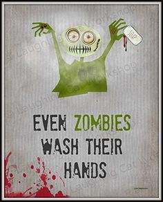Zombies Bathroom Art Print, Funny bathroom wall art, Funny Zombie art, School Nurse art, Apocalypse Zombies Wash Your hands, Doctors Office Decor, Cute Zombies Print, Halloween Zombies, Dorm Decor