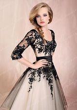 Black/White Lace Sleeves A-line Wedding Dress Bridal Gown Stock 6 8 10 12 16 +++