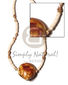 2-3mm Coco Heishe Bleach/nassa Tiger  Cacol Shell Pendant Surfer Necklace