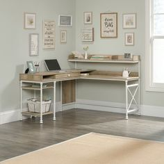 Oakside L-Shape Executive Desk with Hutch – Home office design layout Home Office Space, Home Office Design, Home Office Decor, Home Design, Home Decor, Office Ideas, Office Designs, Small Office, Desk Ideas