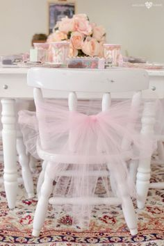Tulle tied chair from an Enchanted Carousel Birthday Party on Kara's Party Ideas | KarasPartyIdeas.com (15)