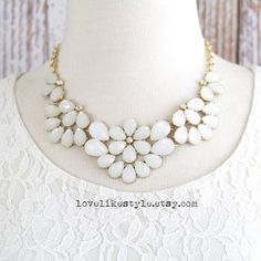 white statement necklace - Google Search
