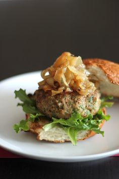Arugula & Apple Turkey Burgers with Caramelized Onions - Baker By Nature
