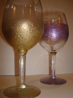 Glitter wine glasses for girls night!!