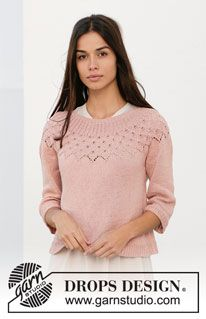 Alberta Rose - Knitted sweater with round yoke in DROPS Safran. The piece is worked top down with lace pattern, leaf pattern and ¾-length sleeves. - Free pattern by DROPS Design Drops Design, Finger Knitting, Free Knitting, Knitting Videos, Sweater Knitting Patterns, Knit Patterns, Pullover Outfit, Patagonia Pullover, Mini Vestidos