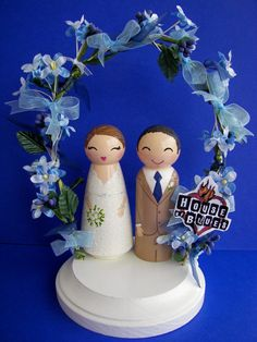 Hand Painted Love Boxes Custom Wedding Cake Toppers by handpaintedloveboxes, 150.00 per set includes dolls, stand & floral arch or bunting.