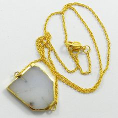 Gorgeous design White Onyx gemstone gold plated brass chain pendant necklace  #Handmade #Chain