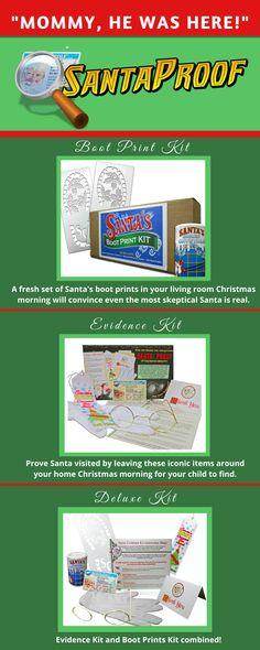 Create the magic of a visit from the one and only Santa Claus! #santa #claus #christmas #christmasmagic #evidence #evidencekit #santaboots #santaglasses #santaglove #glove
