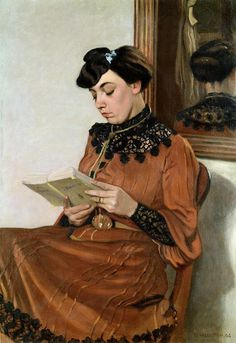 Woman Reading, 1906 (oil on canvas) by  Felix Edouard Vallotton (1865-1925)