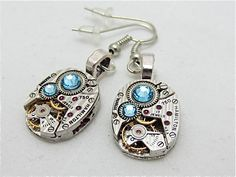 Steampunk earrings watch parts jewelry Aquamarine earrings Hamilton Steampunk Watch movement Handmade Bridesmaid Gift Birthday for her – Handcrafted Jewelry Jewelry Tags, Jewelry Quotes, Jewelry Bracelets, Diy Jewelry, Jewelry Ideas, Skull Jewelry, Tribal Jewelry, Bohemian Jewelry, Gold Jewellery