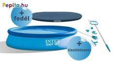 Fürdőzz egész nyáron az Intex Easy Set® felfújható medencében, amelyet könnyű felállítani és tárolni. Ez a medence olyan hellyé varázsolja a kertet, ahol a család pihenhet és játszhat. 10 perc alatt felállítható, egyszerűen sima talajon. Fújd fel, töltsd fel vízzel, és élvezzétek a szórakozást.    Jellemzői:  - Erősített PVC medencetest  - 2 m3/h papírszűrős vízforgató  - Vízzel megtöltve veszi fel formáját  - Kapacitása: 7290 liter  - Mérete: 396 x 84 cm    Tartalma:  - Vízforgató… Products, Gadget