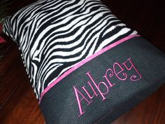 Personalized Pillowcase Zebra Print STANDARD SIZE by debbierofstad, $18.00  for EHS red instead of pink