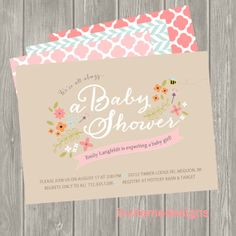 Baby Girl, Baby Shower, Invitation, Baby Boy, Birth Announcement, Personalized, Vintage Floral, Woodland, Bee