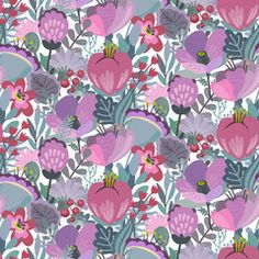 Vector seamless pattern with flowers, leaves, branches and berries