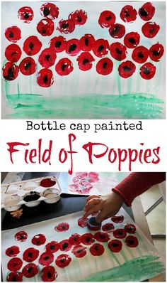 Bottle cap painted field of poppies art - to observe the symbol of the red poppy flower to help kids learn about and commemorate Anzac Day, Remembrance Day or Veterans' Day.