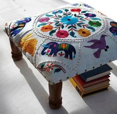 Low footstool upholstered in richly embroidered elephant motif. Fixed around edges with brass studs and finished with polished wooden legs. Home Deco, Boho Decor, Gypsy Decor, Diy Furniture, Home Accessories, Upholstery, Sweet Home, Cushions, Interior Design