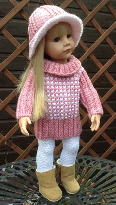 HAND KNIT PINK OUTFIT FOR AMERICAN GIRL OR GOTZ  18inch DOLL                                                                                                                                                                                 Plus