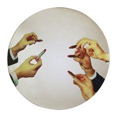 "Seletti x Toilet Paper, Round Mirror in ""Lipsticks"" - Amara"