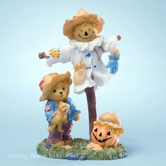 Cherished Teddies Bear Scarecrow Pumpkin 4023638 NIB
