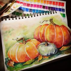 My first watercolor with Derwent Inktense Blocks - Love the Ink Quality & the Vivid Colors - Flying Shoes Art Studio Watercolor Fruit, Pastel Watercolor, Watercolor And Ink, Watercolour Painting, Watercolors, Fruit Painting, Watercolor Ideas, Autumn Painting, Autumn Art