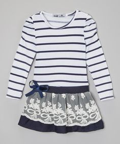 Another great find on #zulily! Navy & White Stripe Dress - Toddler & Girls by Kid Swag #zulilyfinds
