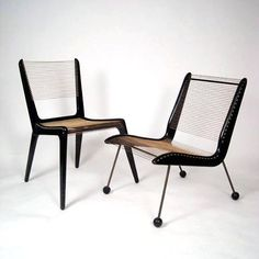Designed by Jacques Guillon these cord chairs were first produced by Modernart…