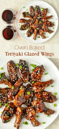 Glazed Teriyaki Chicken Wings - these sticky glazed wings are packed with flavour but are completely oven baked and never fried. Perfect game day party food or served with rice for dinner.