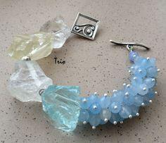 Купить Браслет Апрельский лед - комбинированный, необычный браслет, браслет с кварцем, браслет изо льда