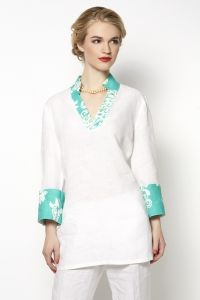 Nadia Tunic, Linen with Green Trim
