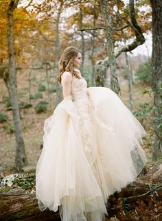 Taupe Floral Wedding Dress   Archetype Studio   Autumn Woodland Wedding at a Country Manor