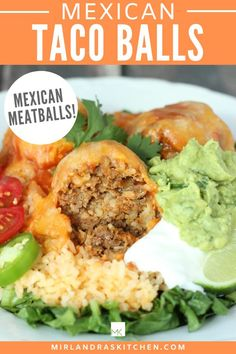 Taco Balls are a fun twist on Tacos and Meatloaf. These delicious Mexican Meatballs are full of rice - no gluten here! And they are served in this delicious cheesy sauce - YUM. You can sub ground turkey in here if you like! #dinner #easy #Mexicanfood #comfortfood #rice Easy Chicken Recipes, Beef Recipes, Mexican Food Recipes, Healthy Dinner Options, Easy Dinner Recipes, Ground Turkey Tacos, Ground Beef, Homemade Breakfast, Breakfast Recipes