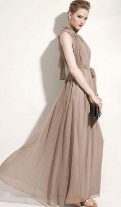 Vestido largo de gasa plisado con cinta-Precio : EUR€25.43
