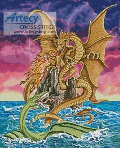Dragon Battle - Cross Stitch Chart - Click Image to Close