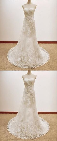 Strapless Sweetheart Lace Appliques Wedding Dresses With Sleeveless Strapless Prom Dresses, Prom Dresses 2017, Prom Dresses Online, Cheap Prom Dresses, Prom Party Dresses, Bridal Dresses, Inexpensive Wedding Dresses, Affordable Bridesmaid Dresses, Applique Wedding Dress