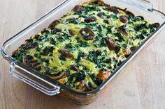 Kale, Mushroom, Feta, and Mozzarella Breakfast Casserole (Low-Carb, Gluten-Free, Meatless) | Kalyn's Kitchen®
