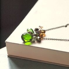 Green Faceted tear drop Ronje  Long necklace
