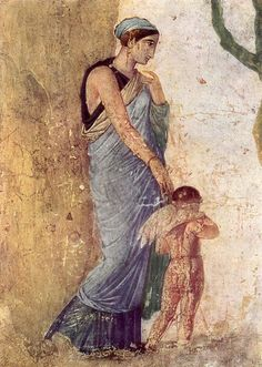 "Fresco of ""Venus and Cupid Punished"" - Detail of House of Punished Love in Pompeii"