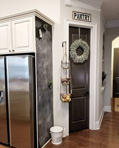 74 I Love This Modern Farmhouse Style Pantry Makeover With Rustic – Farmhouse Room Painted Pantry Doors, Rustic Pantry Door, Pantry Sign, Kitchen Pantry Design, Kitchen Pantry Cabinets, Painting Kitchen Cabinets, Kitchen Decor, Kitchen Ideas, Jenny's Kitchen
