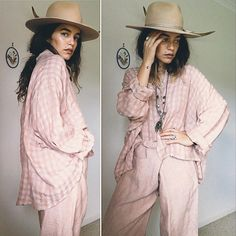Vintage // LINEN LOUNGE Twinset // Blush Designer Luxe Co-ord Slouchy Shirt, Vintage Linen, Co Ord, My Size, Workout Shirts, Gingham, Perfect Fit, Blush, Lounge