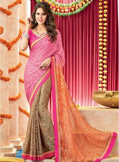 Pink and orange shaded sari Pink and orange chiffon shaded Comes with matching unstitched blouse Latest Saree Trends, Latest Designer Sarees, Indian Clothes Online, Indian Sarees Online, Indian Dresses, Indian Outfits, Latest Anarkali Suits, Simple Sarees, Saree Shopping