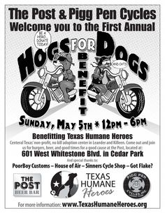 Check out the Hogs & Dogs 2013 event on May Proceeds benefit Texas Humane Heroes. Click through for more info. Hog Dog, Dog Cat, Adoption Center, Benefit, Biker, Motorcycles, Texas, Sunday, Events