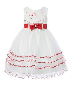 Love this Red & White Flower Tiered A-Line Dress - Toddler & Girls by Richie House on #zulily! #zulilyfinds